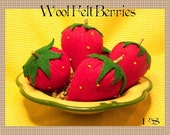 Wool Felt Strawberries-Retro - Cottage-Hand Stitched -Original OFG TEAM