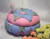 Hand stitched Shabby-Cottage Floral and dot pin cushion With covered button OFG TEAM