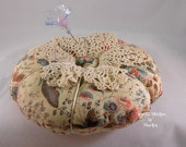 Beautiful Floral Print with Lace Pin Cushion-Original-with Pin-Collectible-Great Mothers day Gift-OFG TEAM