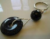 Blue Goldstone and Vintage Crystal Key Ring