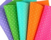 5 Colors Felt Set - Bright Polka Dots - 20cm x 20cm per sheet