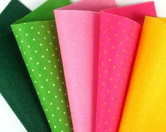 5 Colors Felt Set - Pansy Mix - 20cm x 20cm per sheet