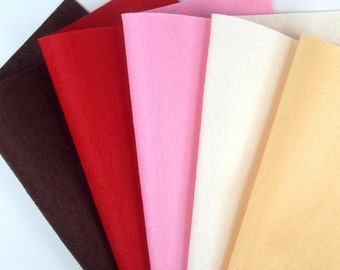 5 Colors Felt Set - Cupcake - 20cm x 20cm per sheet