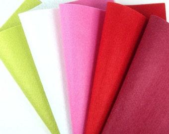 5 Colors Felt Set - Cherry Blossom - 20cm x 20cm per sheet