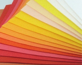 Felt Fabric - 16 Yellows and Oranges - 20cm x 20cm per sheet