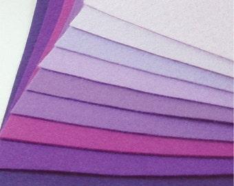 Felt Fabric - 9 Purples - 20cm x 20cm per sheet