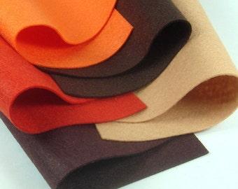 5 Colors Felt Set - Halloween Pumpkin - 20cm x 20cm per sheet