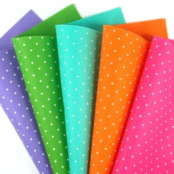 5 Colors Felt Set Bright Polka Dots 20cm x 20cm per sheet
