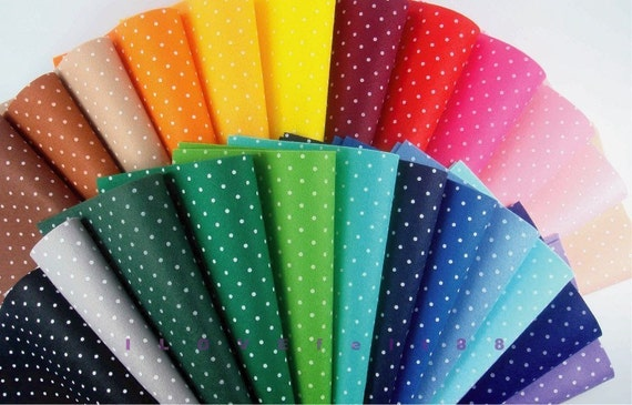 22 printed white polka dots felt sheets 20cm x 20cm per for Polka dot felt fabric