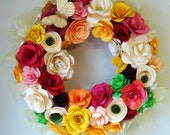 Paper Flower Wreath Spring has Sprung Custom MAd Just For You  13 inch wreath In your choice of Colors