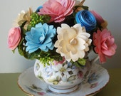 Paper Flower Arrangement in Collectible Tea Cup and Saucer  Mothers Day   Birthday pinks and blue ivory