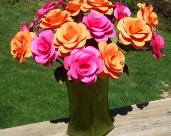 Paper Roses On stems with leaves  You Pick the colors  qty 20 for weddings showers home decor