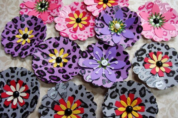 Paper FLowers In Animal Prints  to embellish your project set of 12 pink purple grey