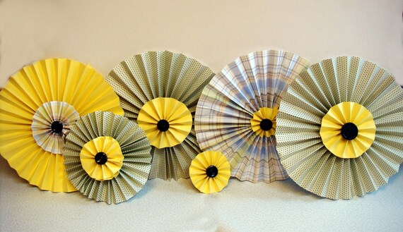 Pleated Rosette Flowers in Gray and Yellow and Black Party Luncheon Decoration Set of 6