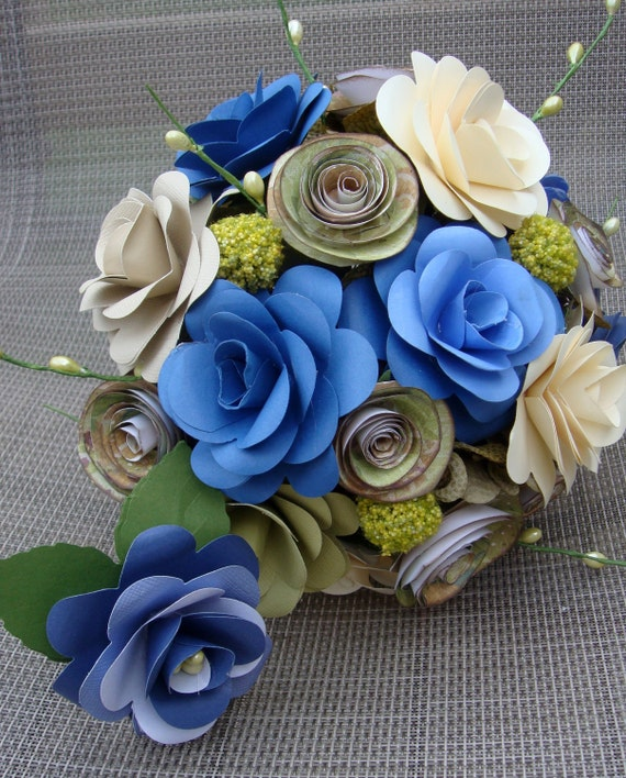 Paper Flower Wedding Bouquet In blues sage and Ivory with matching boot ready to Purchase