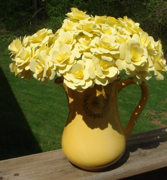 Paper Roses  2 Inches 50 any color stemmed roses perfect for any vase filled to the max with everlasting flowers