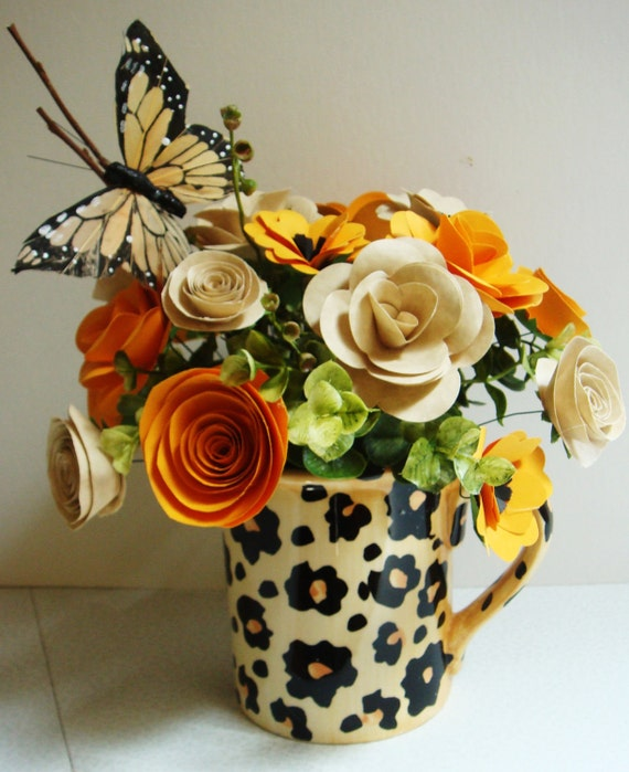 Animal print mug filled with  Paper Flowers Mother's Day  first anniversary