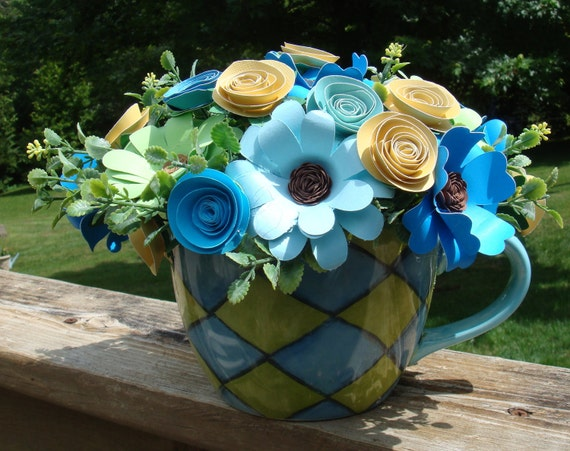Paper Flower arrangement  Blue and greens  in a  Large  Coffee  Mug