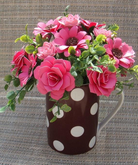 Paper Flower arrangement  inBrown polka Dot mug with hot pink Flowers Gift Housewarming Anniversary