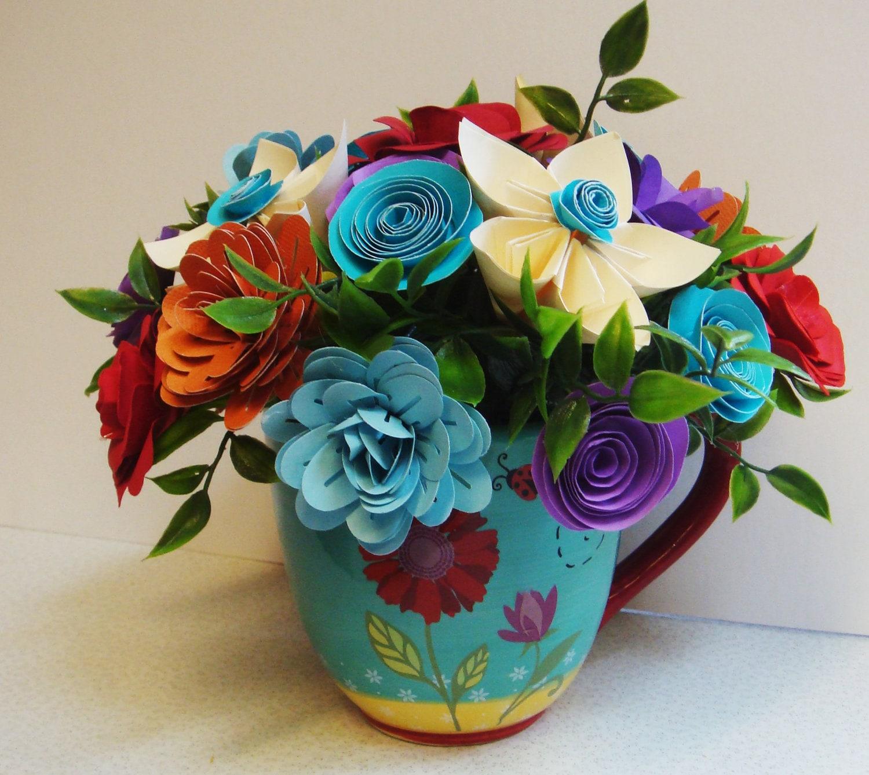 Origami Simple Flower Vase Arrangement Origami Flower Bouquet Paper