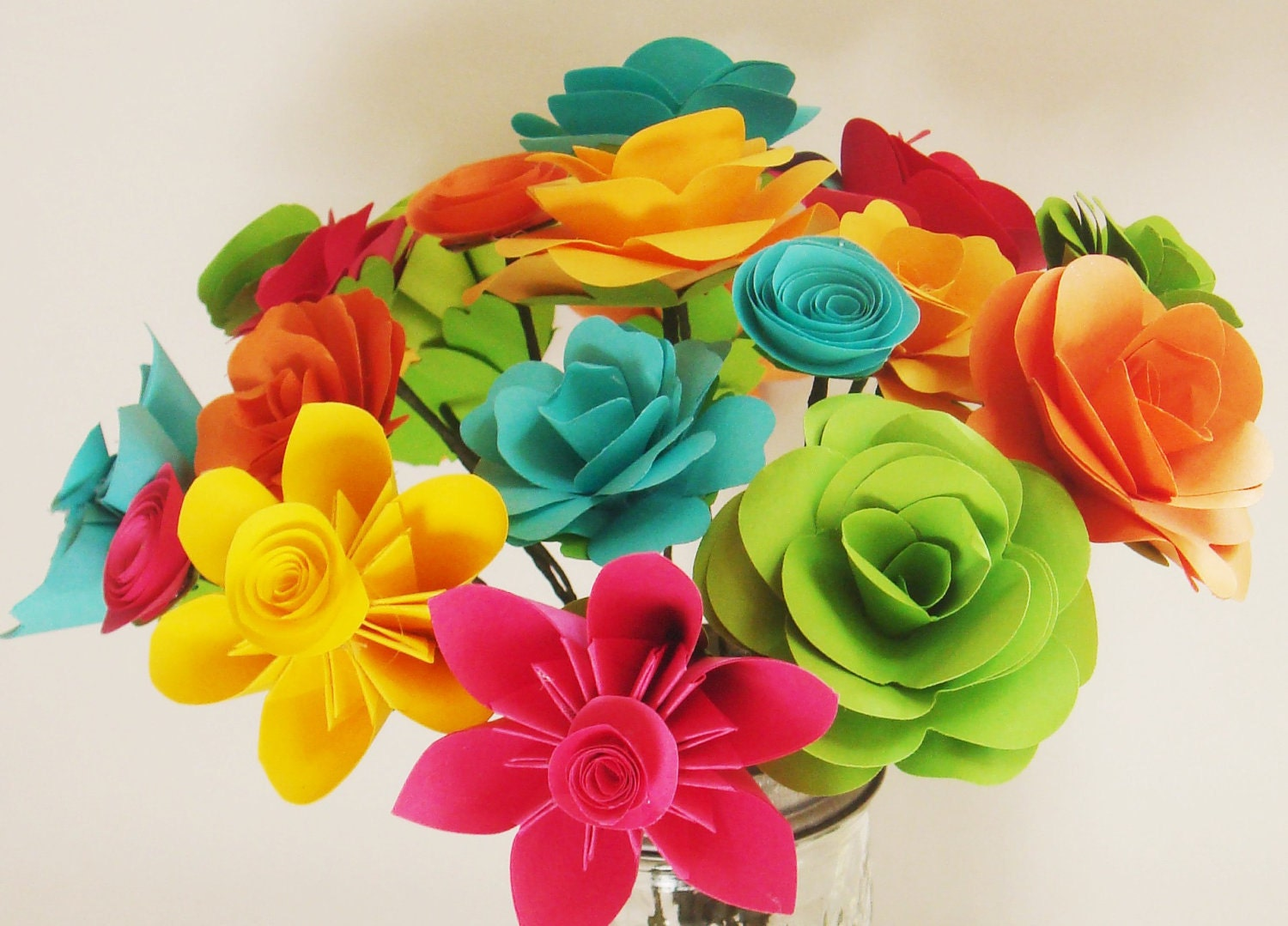 Paper flowers assorted make your own bouquet 20 qty any color for Create your own flower arrangement