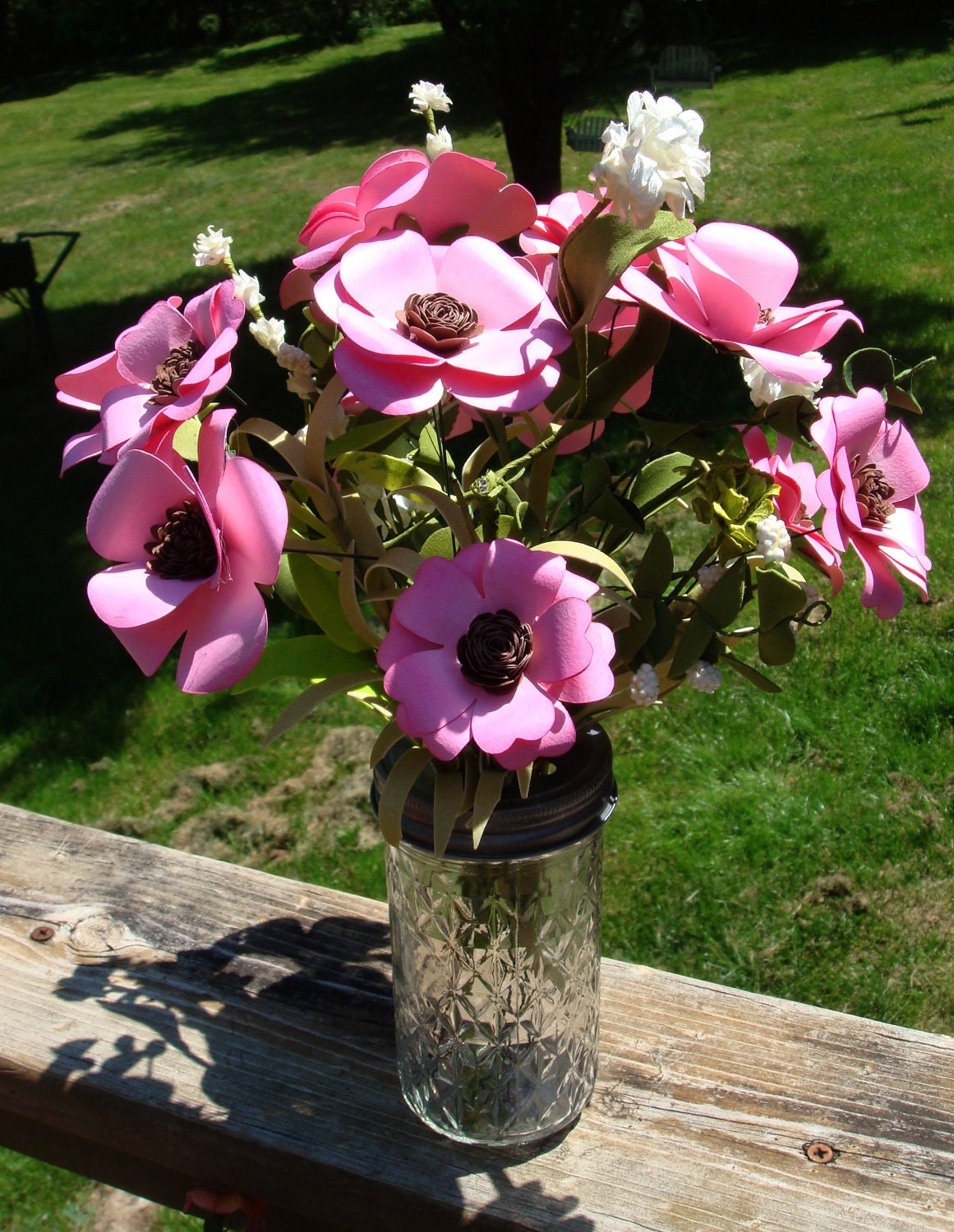 Paper Anemone Flowers In Jelly Jar Vase Pink Roses And