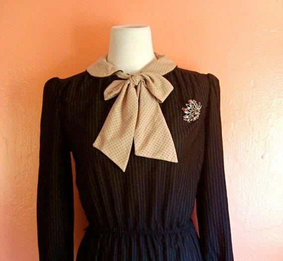 Pink  and Black secretary bow  dress