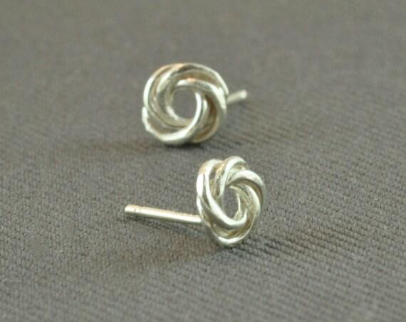 SALE 10% Off: Knot Stud earrings, knot ear studs, silver earrings, sterling silver stud earings, earrings stud, post earrings under 20 USD