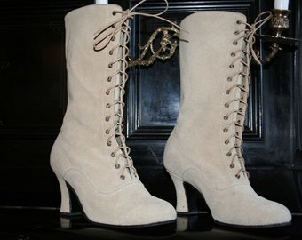 Ivory leather Victorian Boots lace up in suede Beige leather,  ORDER your customized size
