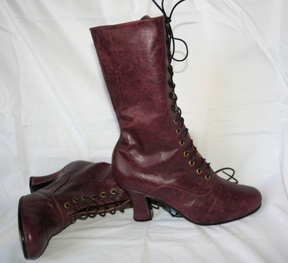 Victorian Boots Victorian Worn Burguny leather Boots worn Marsala Burgundy leather Edwardian booties Custom made shoes