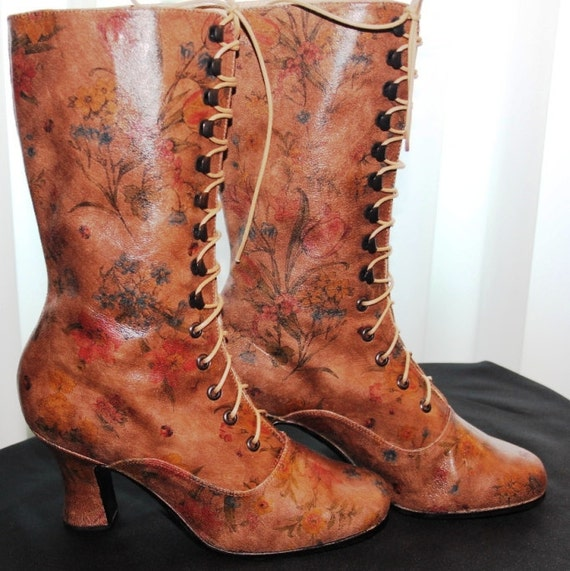 Victorian lace up Boots in limited maroon leather with printed flowers Ankle boots  in Stock size 8 US/ 38 european