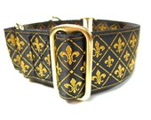 """Houndstown 1.5"""" Fleur de Lis Trio Unlined Buckle or Martingale Collar, Any Size"""