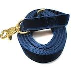 "4' Houndstown Navy Swiss Velvet Leash, Adjustable Handle, Lobster Claw Clasp, 1"" Width"
