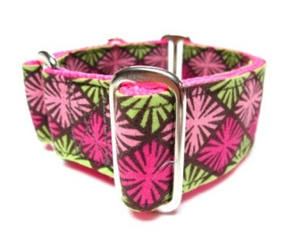 """Houndstown 1.5"""" Pink and Green Unlined Martingale Collar Size Small, Medium, or Large"""