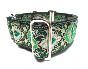 """Houndstown 1.5"""" Green Renni Unlined Martingale Collar Size Medium or Large"""