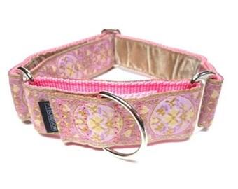 "Houndstown 1.5"" Pink Medallion VELVET Lined Martingale Collar Size Medium or Large"