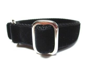 """Houndstown 1"""" Black Velvet Tag Collar, Adjustable"""
