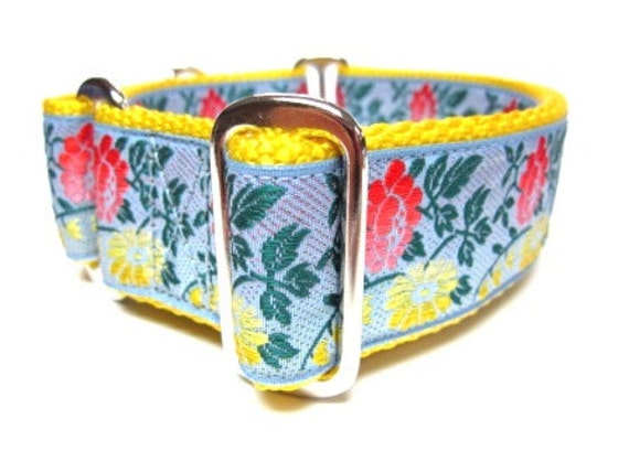 "Houndstown 1.5"" Rosegarden Unlined Martingale Collar Size Small, Medium, or Large"