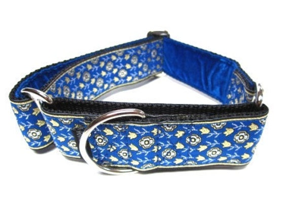 """Houndstown 1.5"""" Blue Daisy Chain VELVET Lined Martingale Collar Size Medium or Large"""