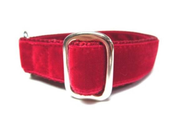 """Houndstown 1"""" Scarlet Red Velvet Tag Collar, Adjustable"""