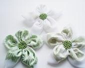 Mint-White Chiffon Flowers Handmade Appliques Embellishments(3 pcs)