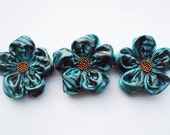 Teal With Copper Stripe Flowers Handmade Appliques Embellishments(3 pcs)