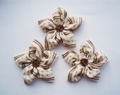 Cream and Brown Flowers Handmade Appliques Embellishments(3 pcs)