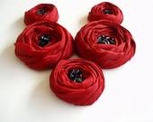 Dark Red Roses Handmade Appliques Embellishments(5 pcs)