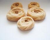 Champagne Roses Handmade Appliques Embellishments(5 pcs)