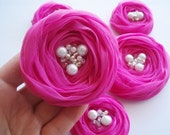 Hot Pink Chiffon Roses Handmade Appliques Embellishments(5 pcs)