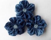 Indigo Blue Flowers Handmade Appliques Embellishments(3 pcs)