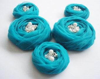 Teal Roses Handmade Appliques Embellishment 5 pcs