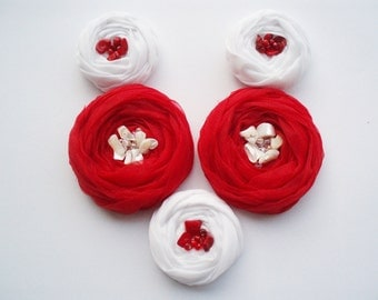 Red & White Roses Handmade Appliques Embellishments(5 pcs)