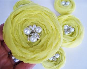 Lemon Yellow  Roses Handmade Appliques Embellishments(5 pcs)